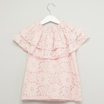 Lace Top with Round Neck and Frill Detail