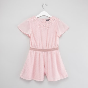 Bead Detail Playsuit with Round Neck and Short Sleeves