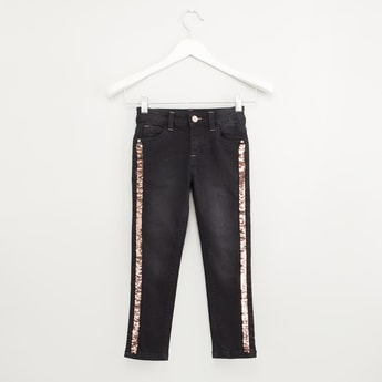 Embellished Jeans with Belt Loops and Pocket Detail