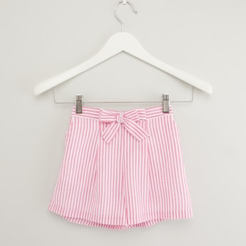 Striped Shorts with Bow Detail and Elasticised Waistband