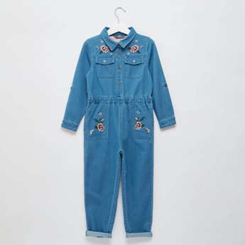 Floral Embroidered Denim Boiler Suit with Long Sleeves
