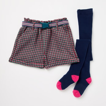 Chequered Shorts and Colour Block Tights Set