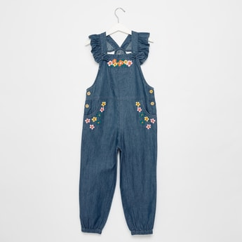 Floral Embroidered Full Length Dungaree with Ruffle Detail