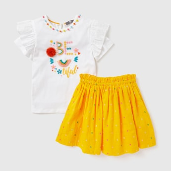 Slogan Embroidered T-shirt with Short Sleeves and Skirt Set