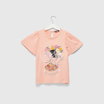 Graphic Detail Embroidered T-shirt with Round Neck and Short Sleeves