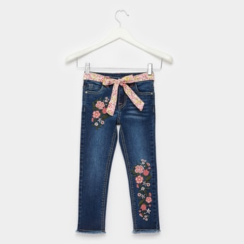 Full Length Embroidered Detail Jeans with Belt and Pocket Detail