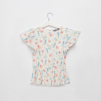 All Over Print Necklace Top with Round Neck and Cap Sleeves