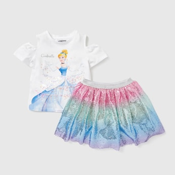 Cinderella Graphic Print Round Neck T-shirt with Sequin Detail Skirt