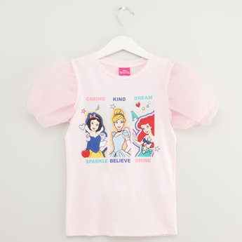 Disney Princess Print T-shirt with Mesh Balloon Sleeves