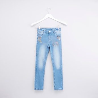 Hello Kitty Embellished Jeans with Washed Finish