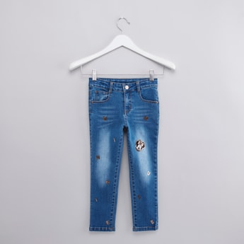 بنطال جينز بجيوب وتفاصيل مزخرفة ميني ماوس