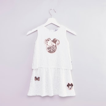 Minnie Mouse Patchwork Sleeveless Dress with Sequin Detail