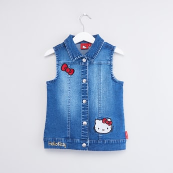 Hello Kitty Sleeveless Denim Jacket with Applique Detail