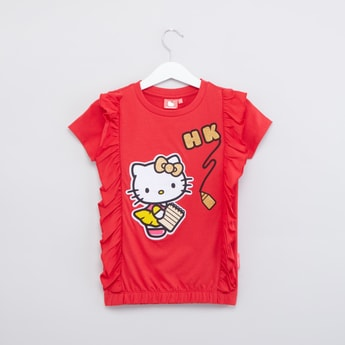 Hello Kitty Printed Top with Ruffle Detail