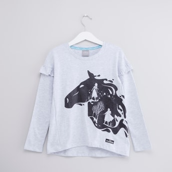 Frozen Printed T-shirt with Round Neck and Long Sleeves
