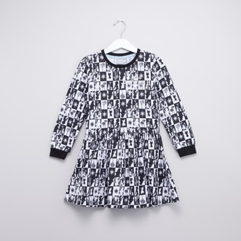 Frozen Printed Dress with Round Neck and Long Sleeves