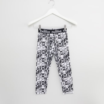 Frozen Printed Leggings with Wide Elasticised Waistband