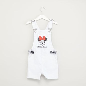 Minnie Mouse Printed Dungarees with Gingham Check Detail