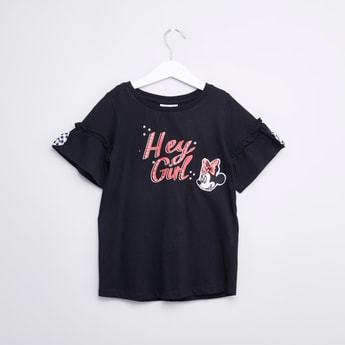 Minnie Mouse Printed T-shirt with Round Neck and Short Sleeves