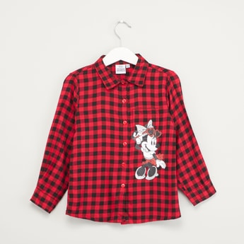 Gingham Checked Minnie Mouse Applique Shirt