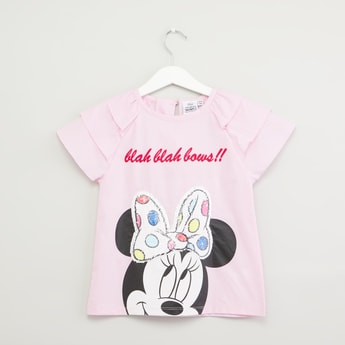 Minnie Mouse Printed Top with Sequin Detail and Short Sleeves