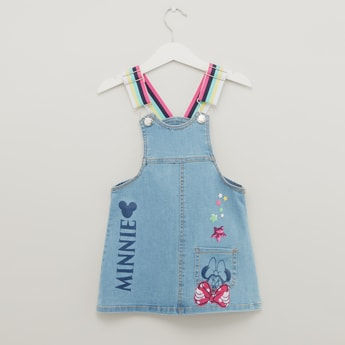 Minnie Mouse Print Denim Dungarees with Pocket Detail
