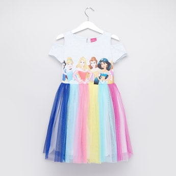 Disney Princess Printed Dress with Round Neck and Cold Shoulder