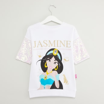 Jasmine Print T-shirt with Round Neck and Sequin Detail