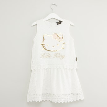 Hello Kitty Embellished Sleeveless Dress