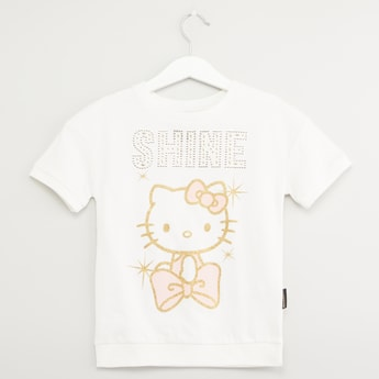 Hello Kitty Print Top with Short Sleeves