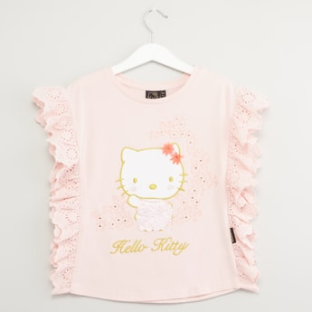 Hello Kitty Print Sleeveless T-shirt with Ruffle Detail