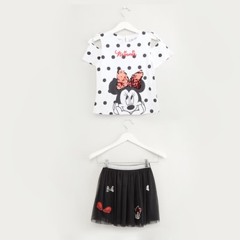 Minnie Mouse Sequin Detail Top with Tutu Skirt