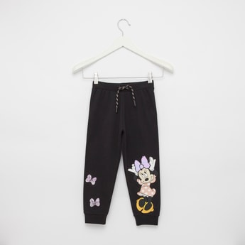Minnie Mouse Print Joggers with Cuffs and Drawstring Closure