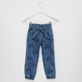 Comfort Fit Full Length Minnie Mouse Print Denim Joggers with Pockets
