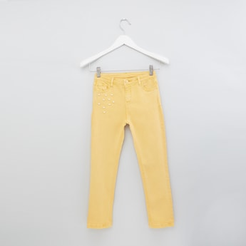 Full Length Pants with Pearl Detail and Button Closure