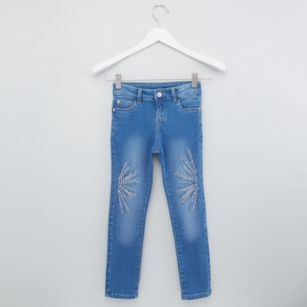 Full Length Faded Jeans with Embellishments