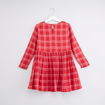 Chequered Long Sleeves Dress with Frill and Applique Detail