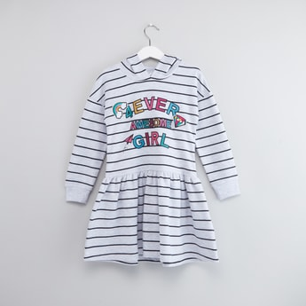 Slogan Print Striped Dress with Long Sleeves and Hood