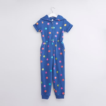 Polka Dot Printed Jumpsuit with Zip Closure