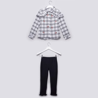 Checked Embroidered Shirt with Long Sleeves and Solid Leggings Set