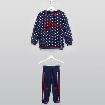 Polka Dot Print Sweatshirt and Jog Pant