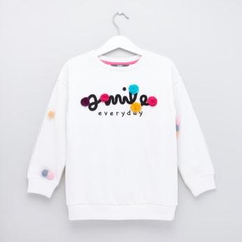 Pom-Pom Embellished Round Neck Sweatshirt with Long Sleeves