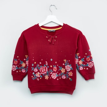 Embroidered V-neck Sweat Top with Long Sleeves