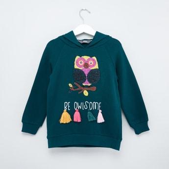 Embellished Sweatshirt with Long Sleeves and Hood