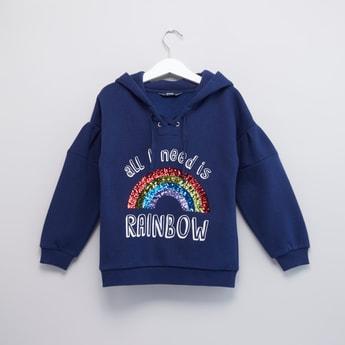 Sequin Embellished Sweatshirt with Long Sleeves and Hood