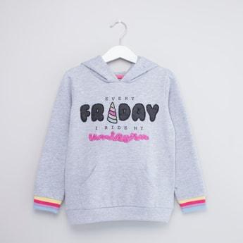 Printed Hooded Sweatshirt with Kangaroo Pockets and Long Sleeves