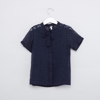 Textured Shirt with Mandarin Collar and Short Sleeves