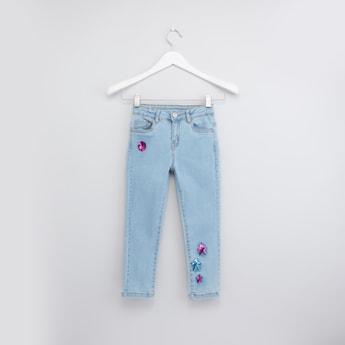 Sequin Embellished Denim Jeans with Pockets