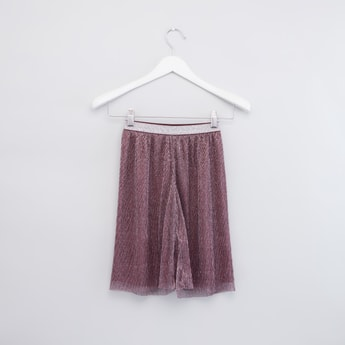 Shimmery Textured Culottes with Elasticated Contrast Waistband