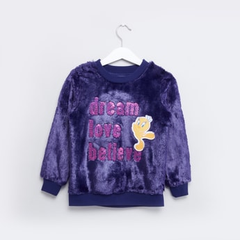 Tweety Embellished Sweatshirt with Round Neck and Long Sleeves